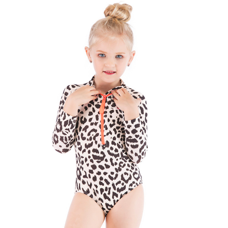2019 KID'S Swimwear Europe And America Girls One-piece Leopord Pattern Long Sleeve Sun-resistant Baby Girls Swimwear Swimwear