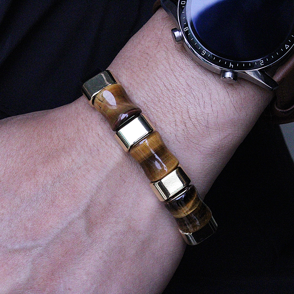 Fashion trend leather bracelet natural long three-grain tiger eye stone
