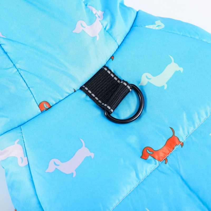 Pet Dog Winter Warme Jas Teckel Gedrukt Katoen Donsjack Met Leiband Ring Dikker Hoodie Voor Kleine Middelgrote Honden Puppy