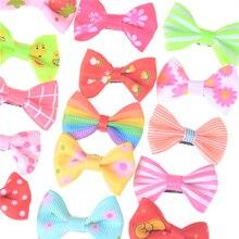 10pcs/lot Ribbon Hair Clip Colorful Barrettes Hairgrip Headwear Pet Dog Bows Girls Dog Hairpins Hair Accessories