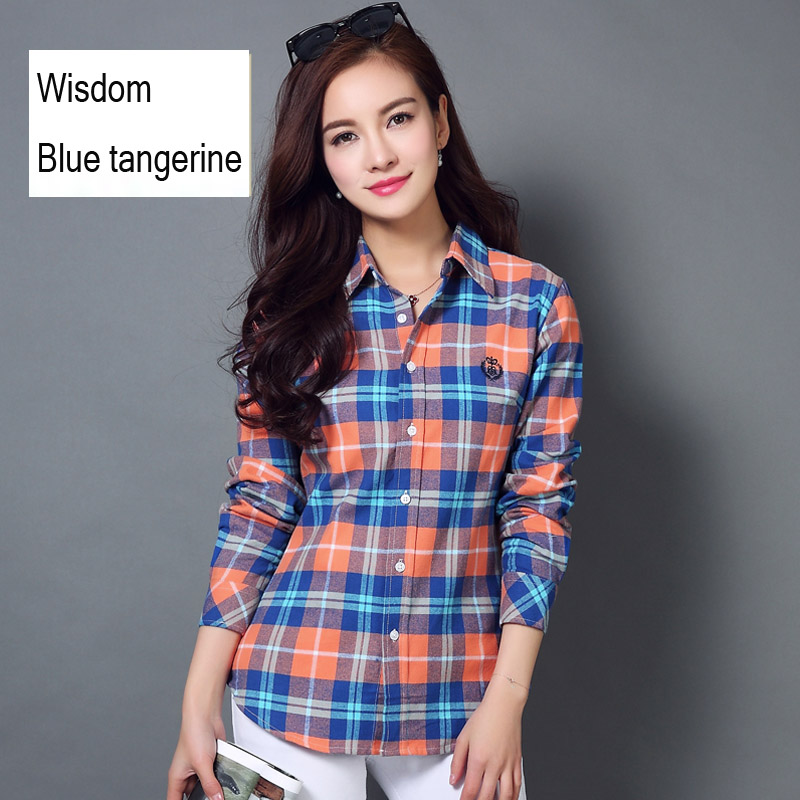 women casual embroidered shirt Pure cotton flannel shirt blouse women shirts