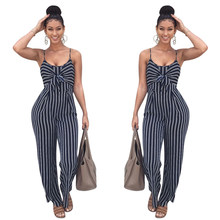 Summer Sleeveless Blue playsuits Backless Stripe Cover Ups Women Sexy Party Clubwear bodysuits Casual Bowtie Overalls Jumpsuit(Hong Kong,China)