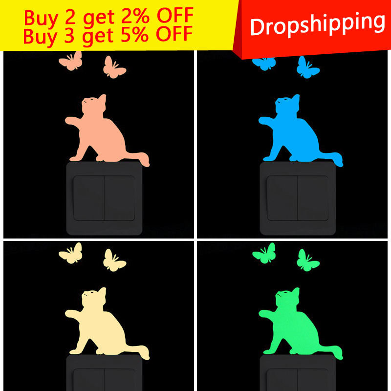 Cartoon DIY Cat And Butterf Wall Stickers for kids rooms Decoration Glow in the Dark star Switch Stickers home decor Living Room in Wall Stickers from Home Garden
