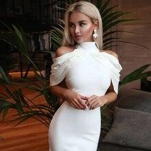 Adyce 2020新夏セレブイブニングパーティードレス女性エレガントな白オフショルダーのセクシーなドレープホルターボディコンミディクラブドレス