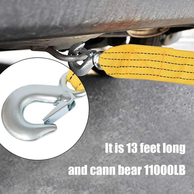 4M Car Tow Rope Tow Cable Strap Pull Rope Strap Hooks Van Road Recovery Rescue Tool for VW Toyota BMW Suzuki Honda Hyundai Kia 5