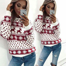 Deer Christmas Sweater Women Knit Red Sweaters Ladies And Pullovers Winter 2019