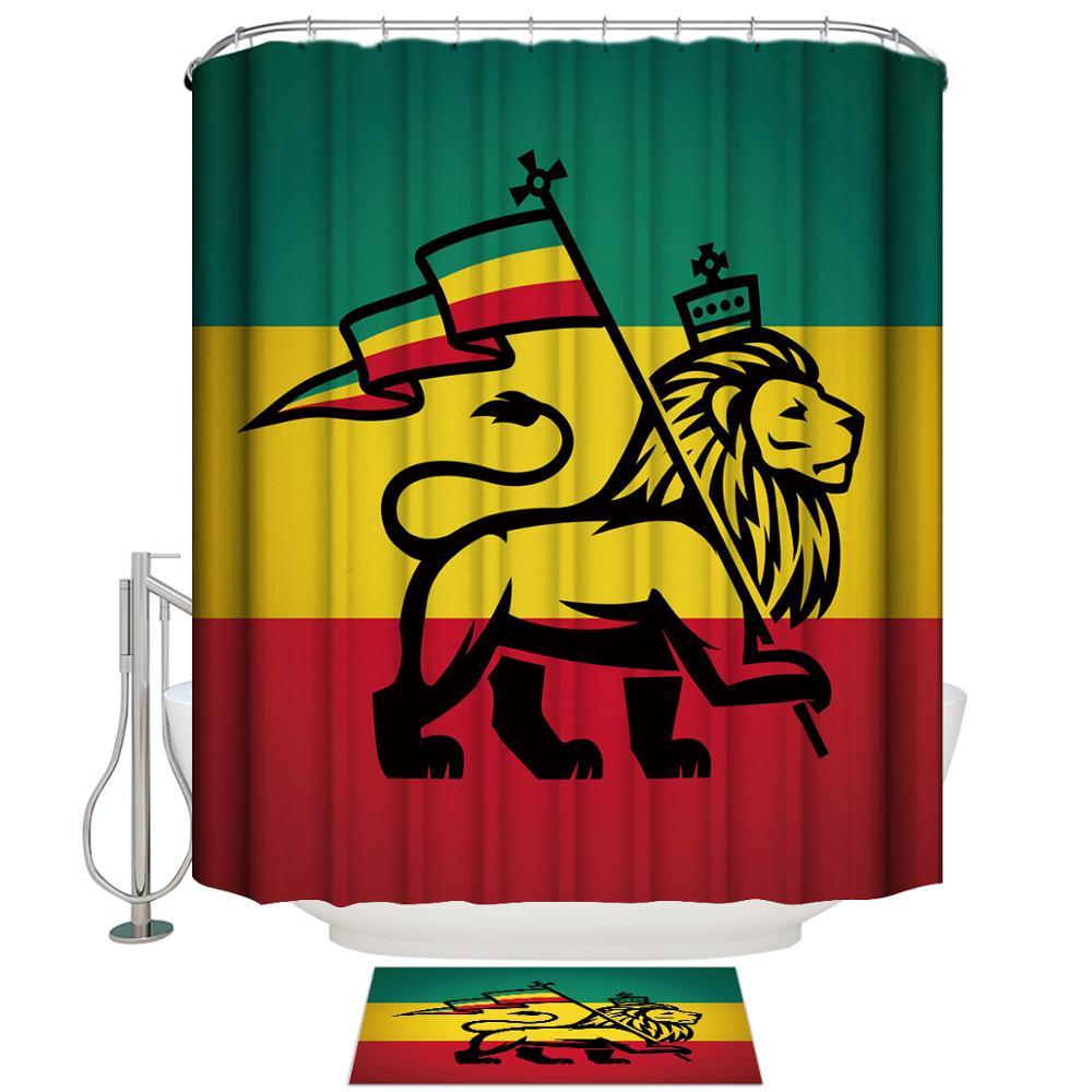 Shower Curtain Lion King Flag Art