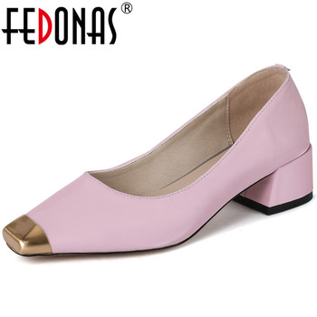 FEDONAS Women Pumps Fashion Square Toe Metal Decoration Cow Leather Slip On Spring Summer Basic Shoes Working Shoes Woman