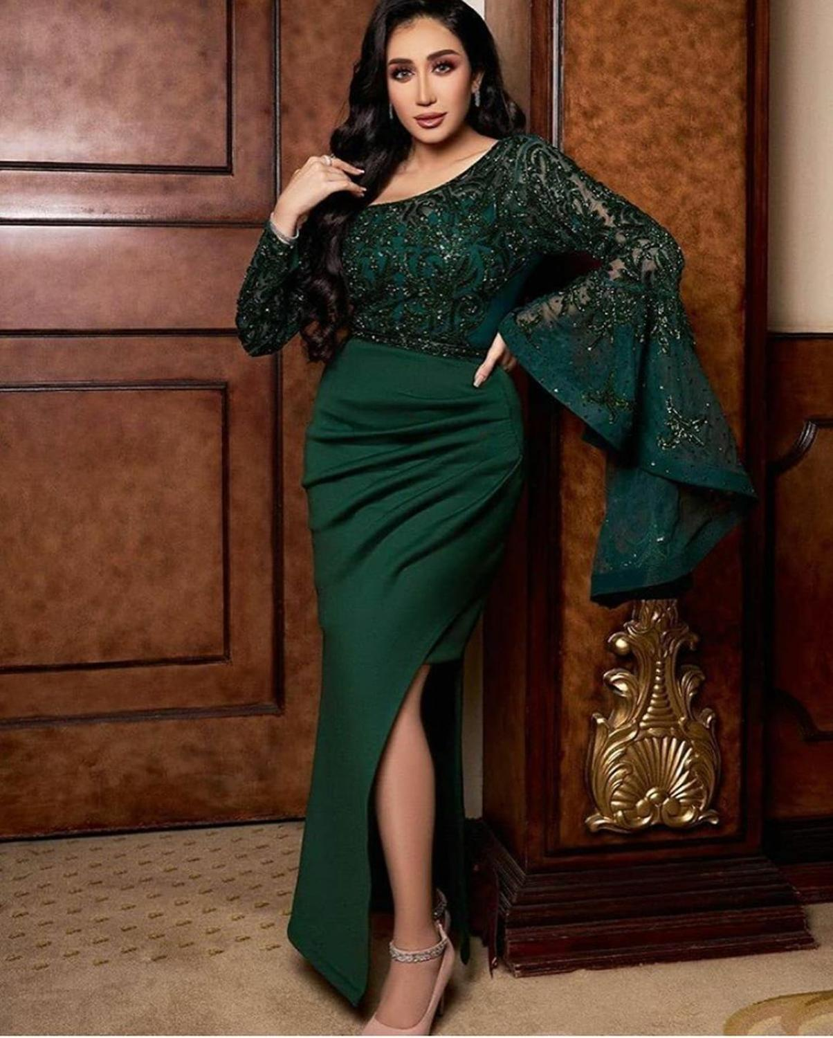 Prom Dresses 2020 Mermaid For Women Dubai Turkey Sequined Formal Night Evening Gown Sexy Split Luxury Long Sleeve