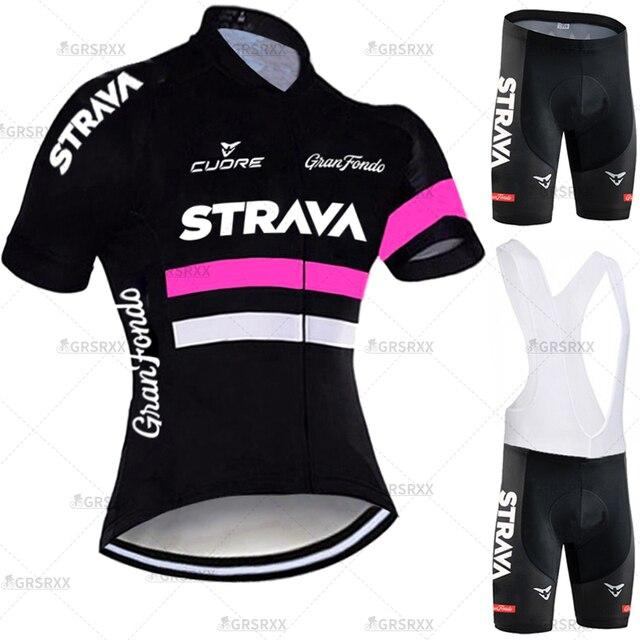 Strava conjunto de camisa de ciclismo para mulher anti-uv mtb bicicleta uniforme 2021 females' manga curta bicicleta equipe ciclismo moletom terno 1