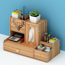 New Wooden Desktop Organizer Office Supplies Storage Shelf Rack Book Shelf Stationary Compartment Holder Desk Accessory Storage