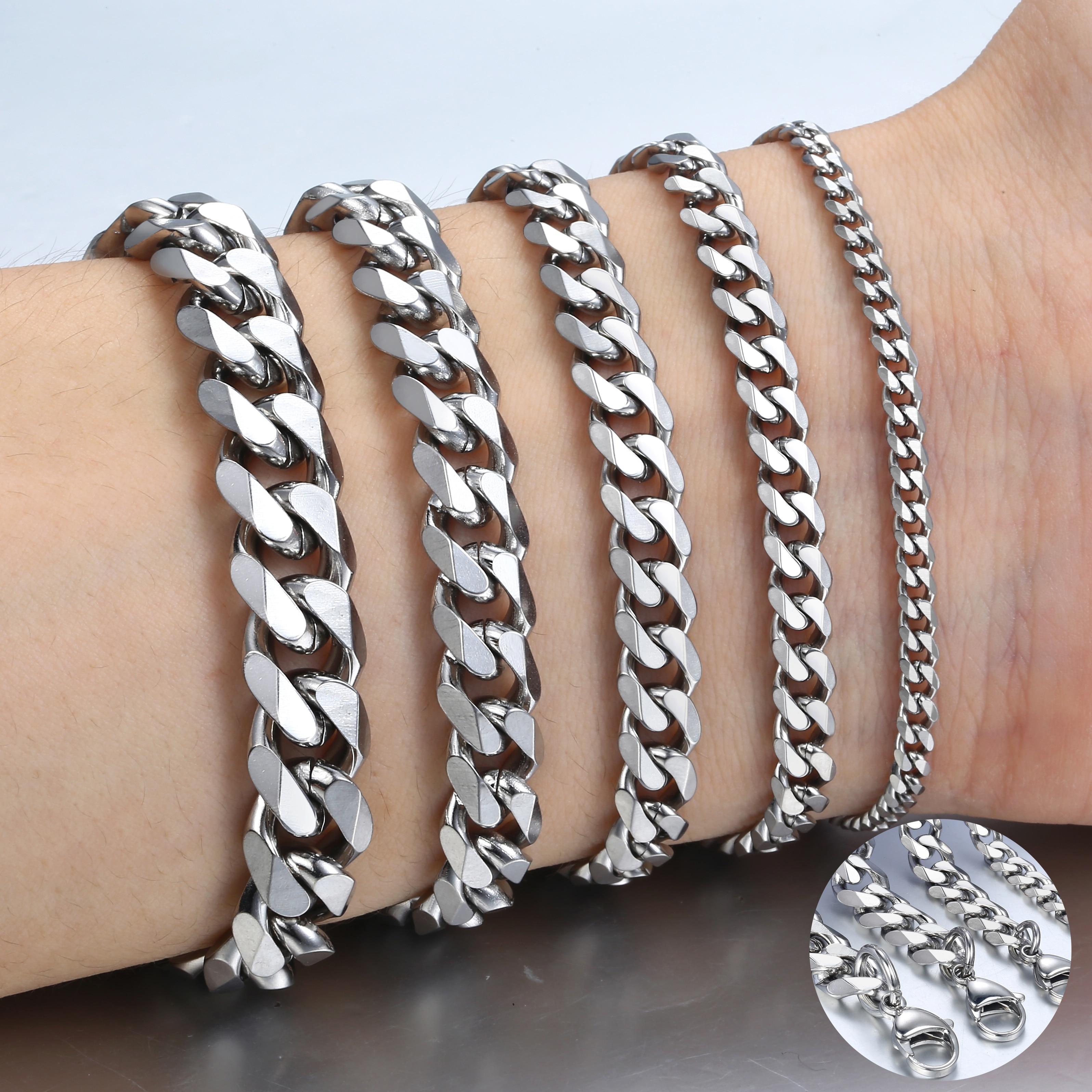 Pulsera de acero inoxidable para hombres y mujeres, pulsera de oro negro de Color plateado cubano para hombres, joyería de moda Davieslee LKBM03|Brazaletes de cadena y enlaces|   - AliExpress
