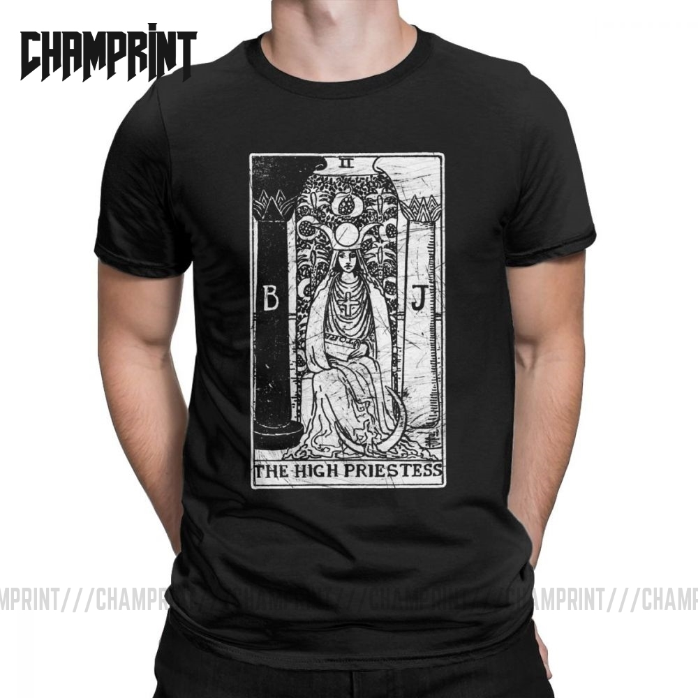 The High Priestess Tarot Card Major Arcana Fortune Telling Occult T-Shirts For Men Pure Cotton T Shirt Short Sleeve Tee Shirt