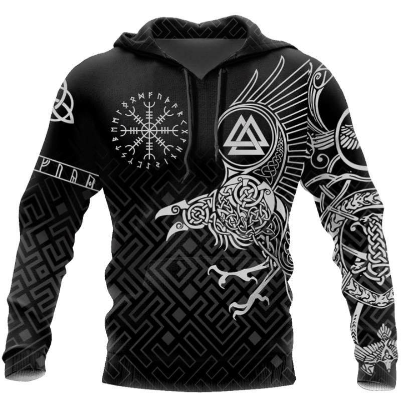 New Viking Tattoo 3D Printed Men Hoodies Harajuku Fashion Hooded Sweatshirt Autumn Unisex Street Hoodie Sudadera Hombre WS-119