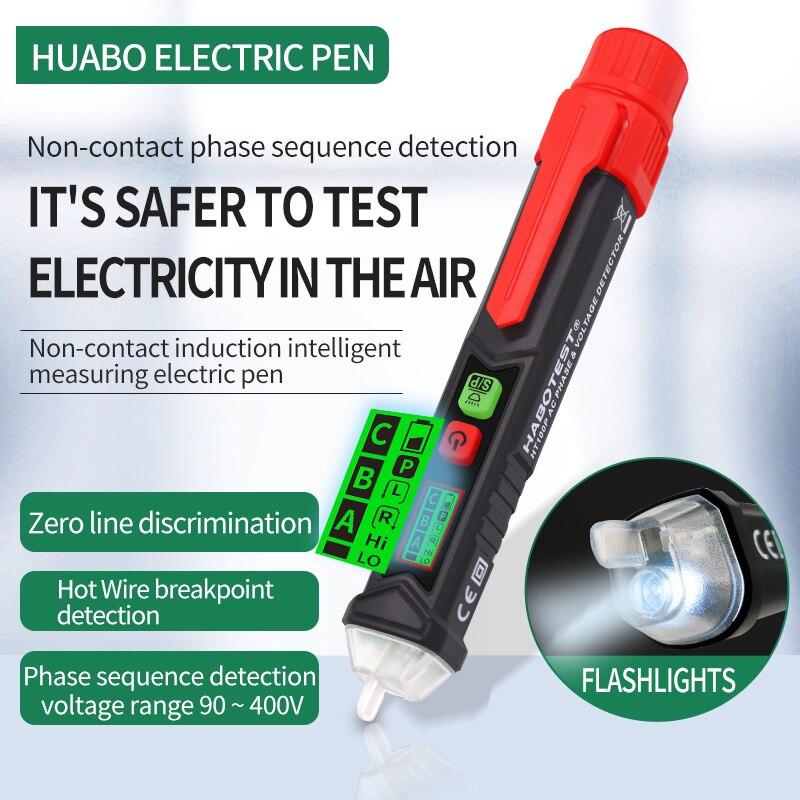 HT100P высококачественный интеллектуальный бесконтактный детектор напряжения ЖК-экран, звуковая и световая сигнализация, нулевое пламя, диск...