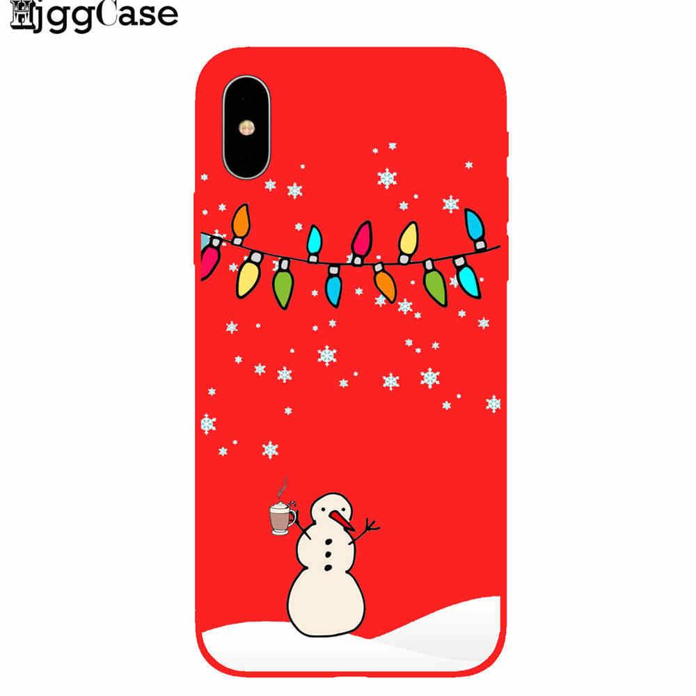 Hoạt hình Giáng sinh Cho iPhone 7 8 6 6S Plus 5 5S SE Ông Già Noel Ốp Lưng Điện thoại bao da 11 Pro XR X XS Max Ốp Lưng Silicon