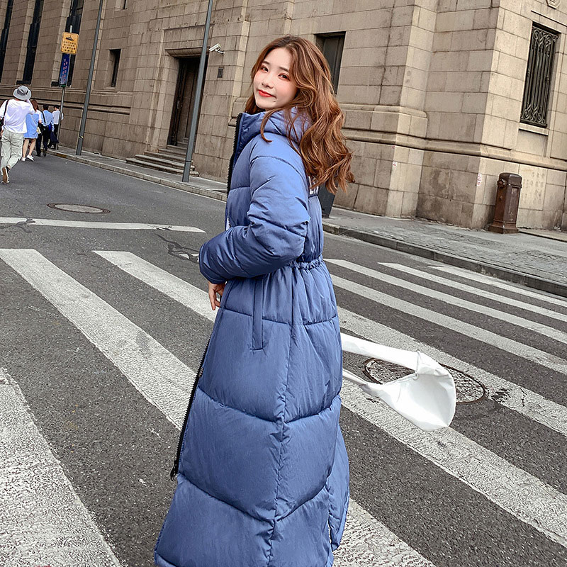 Women Colorful Fur Collar X-Long Hooded Oversize Winter Down Coat Thick Warm Jacket Cotton Padded Wadded Parkas Big Pocket