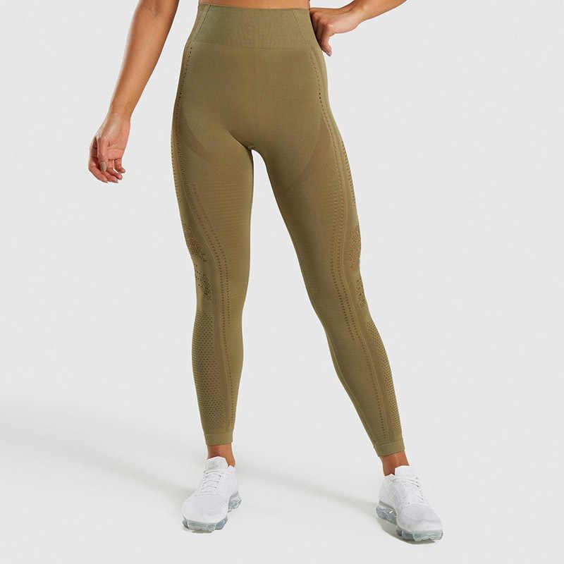 Moda wysoka talia Fitness Legging dla kobiet legginsy bezszwowe sportowe kobiety siłownia PantsTights Push Up oczko dzianiny legginsy