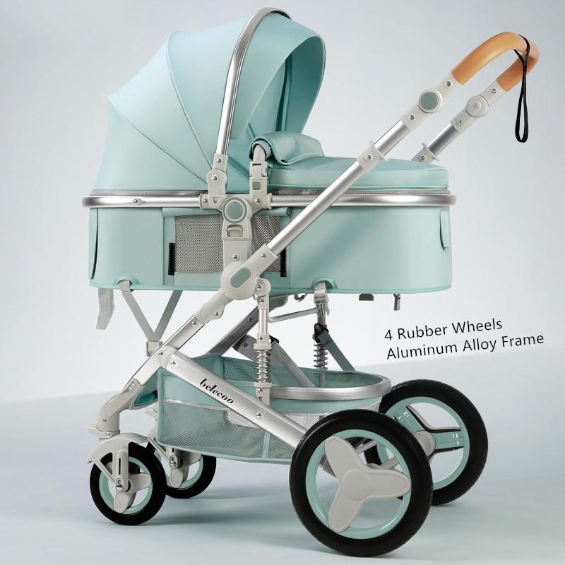 Belecoo-poussette 3 en 1 Portable de luxe et réversible, poussette de voyage haute pour maman sexy, rose