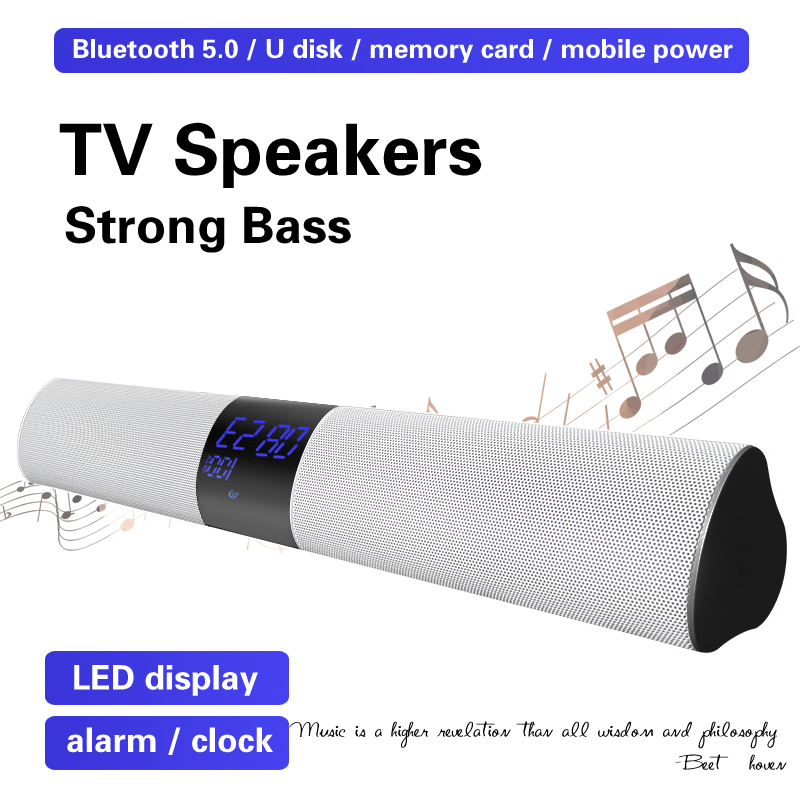 3600mAh Dual Soundbar Alarm Clock Computer TV Speaker Home Theater Loudspeaker Subwoofer Super Bass Wireless Bluetooth Speakers