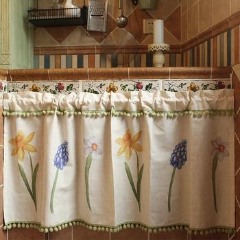 DUNXDECO cortina corta para la puerta de la cocina media Cortinas estilo country americano jardín Flora Narciso imprimir borde verde fresco de la bola