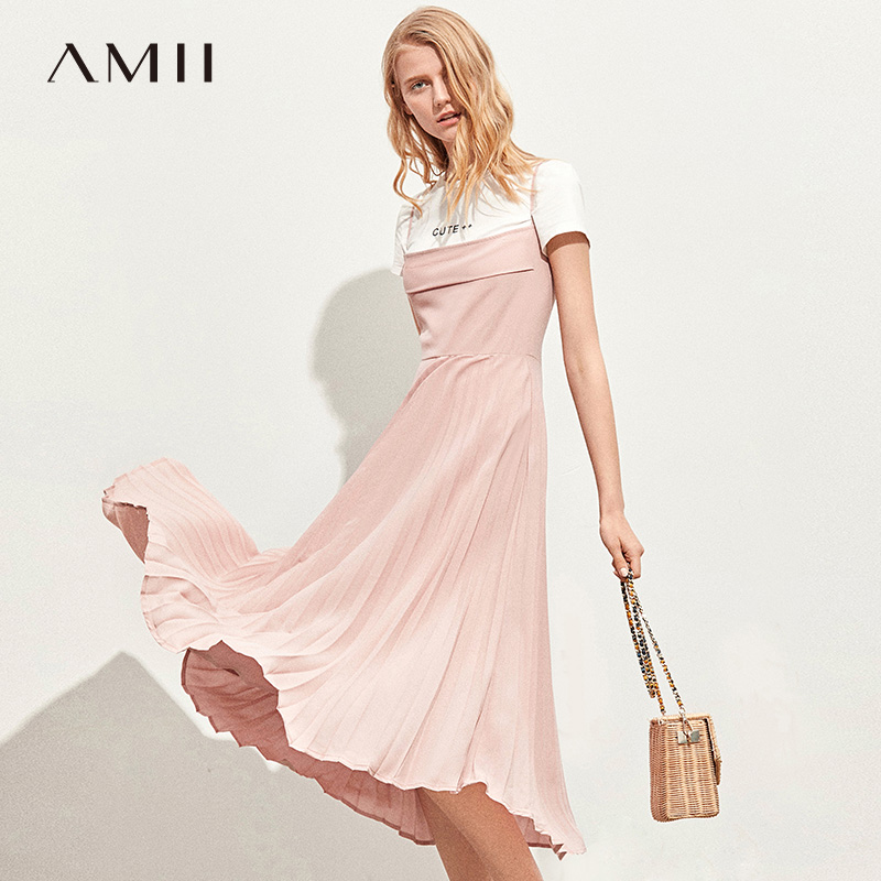 Amii Minimalist Pleated Chiffon Sling Dress Spring Women Half Sleeve Solid Round Neck Female Long Dresses 11940009