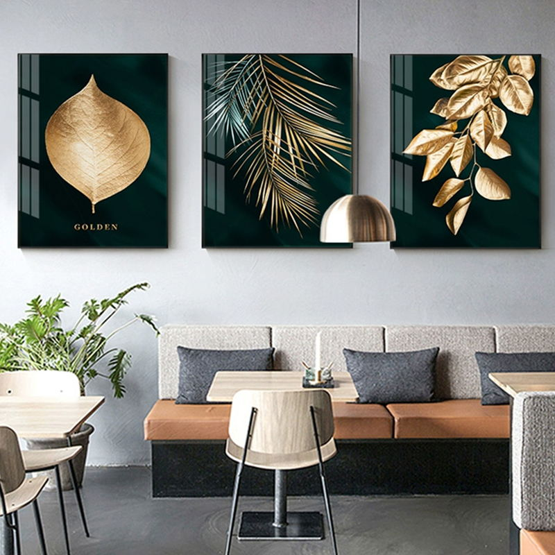 H46e44e38f744456d9ba7eeb324d6bbdc2 Abstract Golden Plant Leaves Picture Wall Poster Modern Style Canvas Print Painting Art Aisle Living Room Unique Decoration