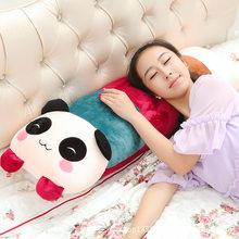 Cute Cartoon Panda Pillow Doll Children Single Person Double Pillow Plush Toys Big Long Pillow Washable Birthday(China)
