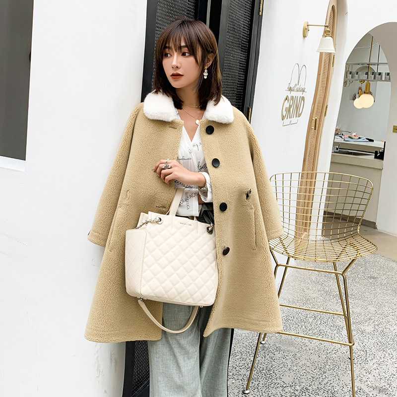 Nueva chaqueta de invierno 2019 abrigo de tela de gamuza de lana para mujer Falda larga de Cachemira Cuello de piel abrigo de lana mezcla excelente valor - 3