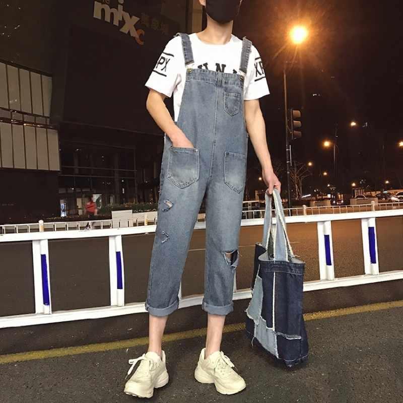 Styl hip-hopowy męskie dziurki porwane jeansy kombinezony casualowe w stylu streetwear spodnie do kostek Cargo spodnie jeansowe spodnie z szelkami dżinsy pajacyki