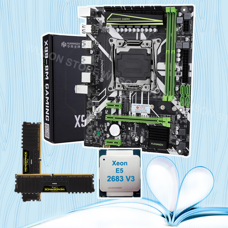 HUANANZHI X99 LGA2011-3 Motherboard With M.2 NVMe Slot Discount Motherboard Bundle CPU Xeon E5 2683 V3 RAM 32G(2*16G) 2400 DDR4