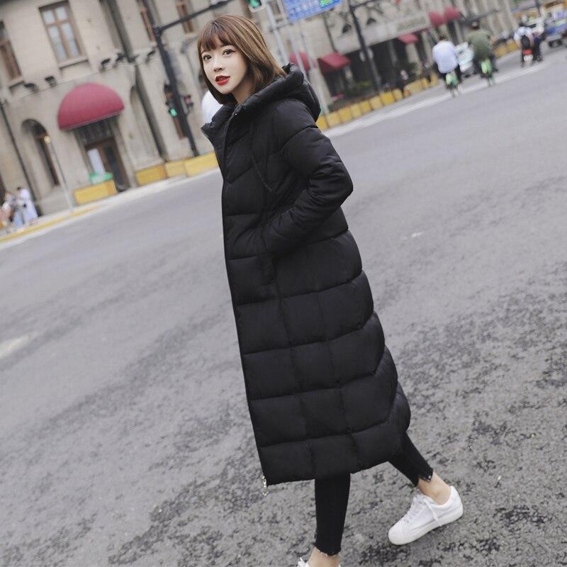Long Hooded Thicken Slim Warm Down Coats Women Casual Solid Pockets Zipper Winter Cotton Outwear Female Plus Size Coat Jackets