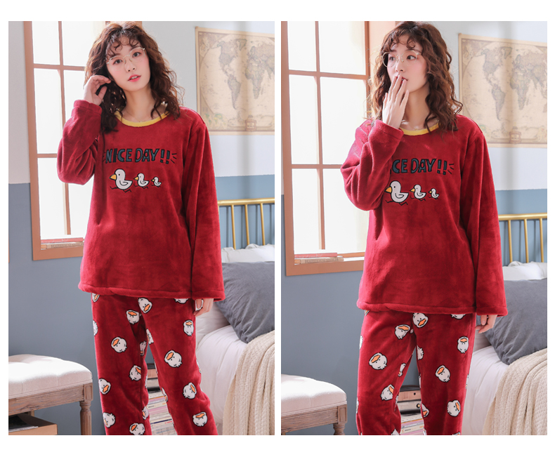 Long Sleeve Warm Flannel Pajamas Winter Women Pajama Sets Print Thicken Sleepwear Pyjamas Plus Size 3XL 4XL 5XL 85kg Nightwear 362