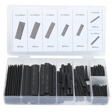 127PCS Black Polyolefin Shrinking Assorted Heat Shrink Tube Wire Cable Insulated Sleeving heat shrink tubing Set box-packed