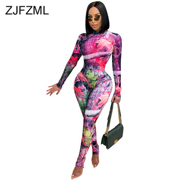 Sheer Mesh See Through Pattern Print 2 Piece Sets for Women Long Sleeve Bandage Bodysuits and Skinny Legging Sweat Suit Outfits 1