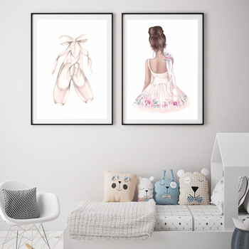 Ballet Dance Girl Baby Nursery Wall Art Canvas Poster and Prints Pink Cartoon Painting Nordic Kids Decoration Picture Room Decor image