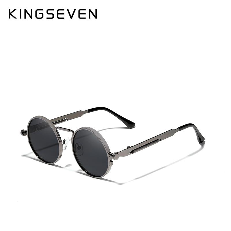 KINGSEVEN High Quality Gothic Steampunk Sunglasses Polarized Men Women Brand Designer Vintage Round Metal Frame Sun Glasses