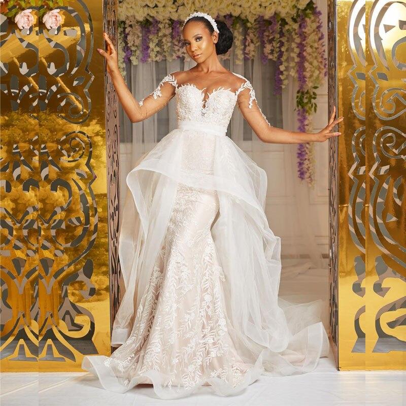 2020 plus size árabe aso ebi vestidos de casamento sexy do vintage sheer neck sereia vestidos de noiva mangas compridas