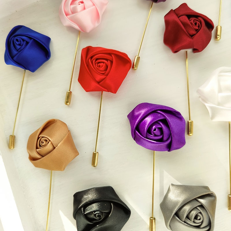 Men Groom Boutonniere Pins Wedding Corsage Women Brooch Flowers Roses Silk Groomsman Buttonhole Marriage Suit Accessories Prom A