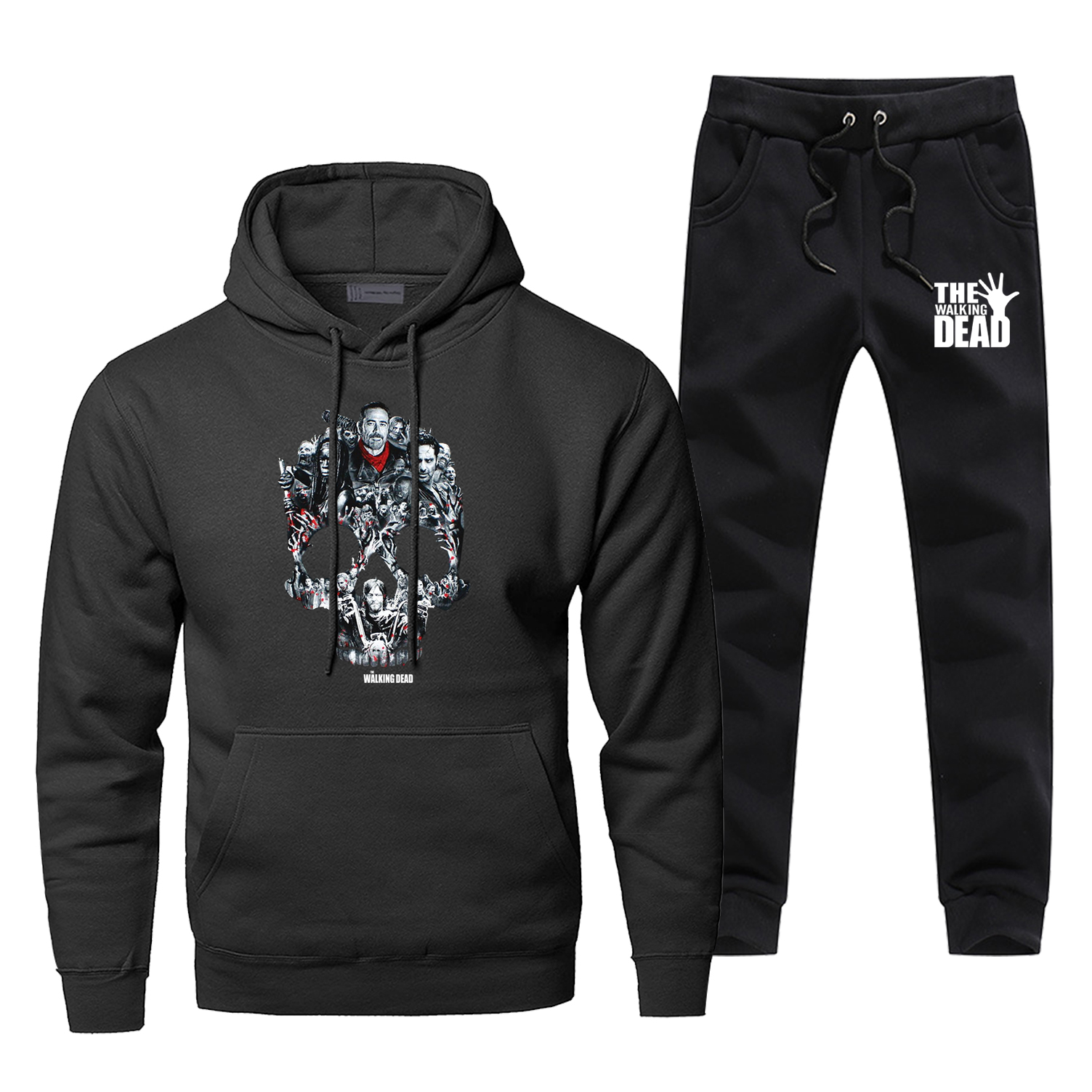 The Walking Dead TV Show Negan Rick Skull Print 2 Piece Set Fashion Casual Sweatshirtpants 2019 Winter Complete Man Tracksuit