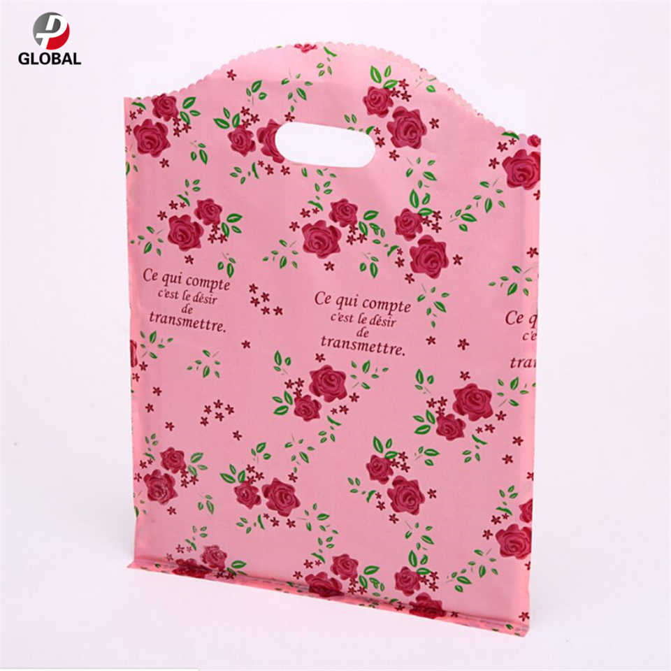 D&P 20*25cm 50pcs Thank you gift Jewelry Plastic package carry Bag Wedding boutique party gift shopping plastic Handle Bag
