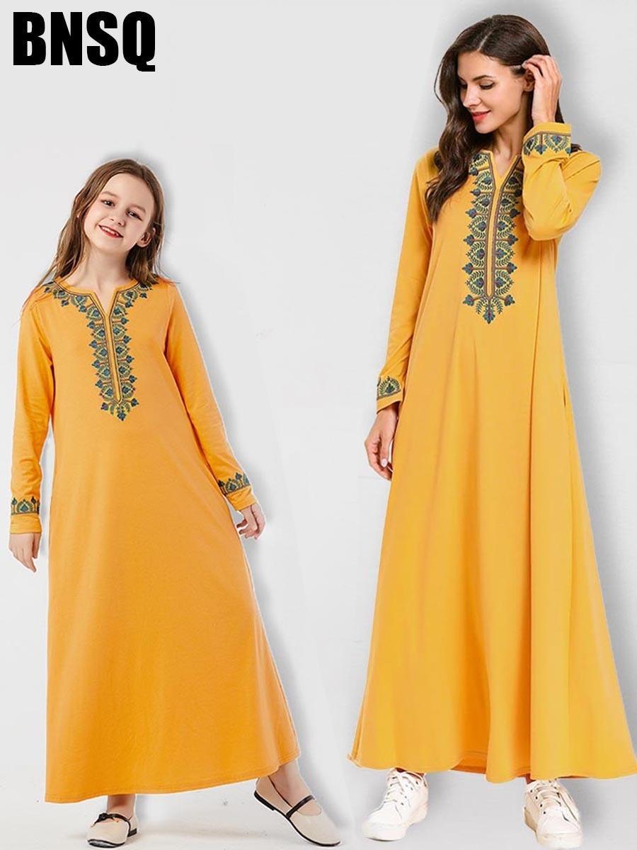 Muslim Embroidery Girls Abaya Maxi Dress Ethnic Children's Wear Family Matching Outfits Kimono Long Robes Eid Ramadan Islamic