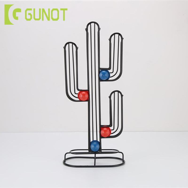 GUNOT Coffee Capsule Holder Stainless Steel Coffee Pod Rack Creative Cactus Dispenser Coffee Dispensing Tower Stand Fits