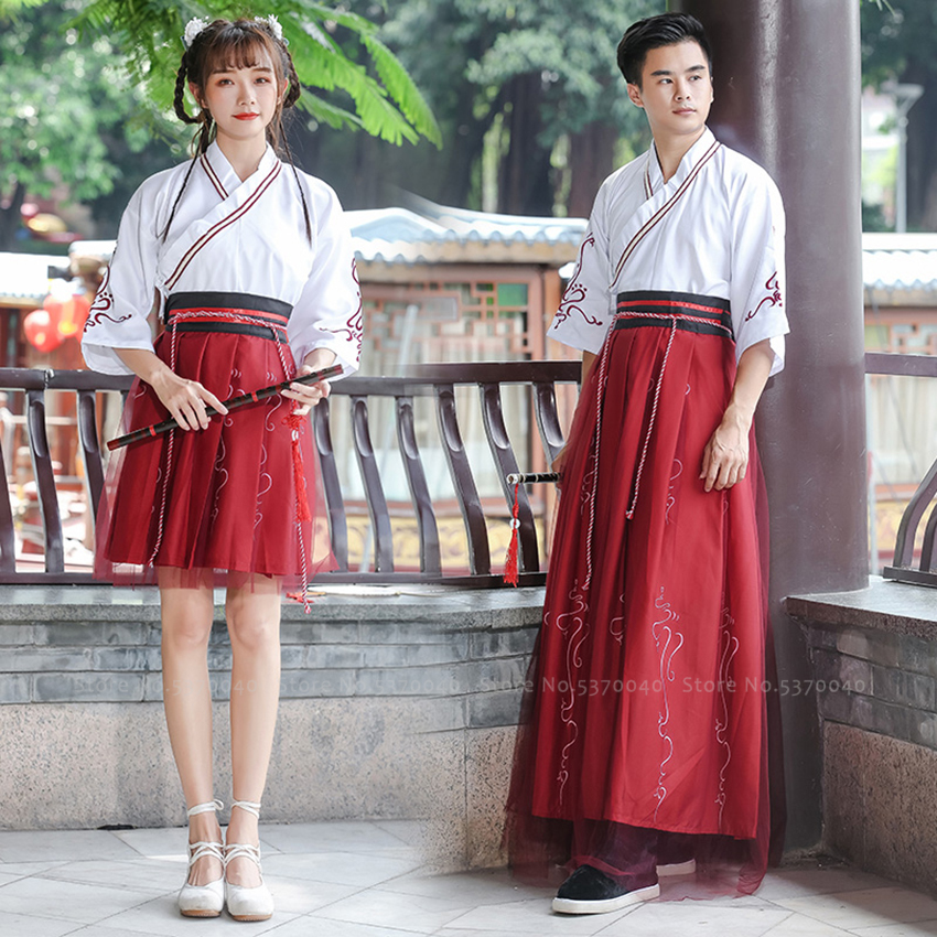 Hanfu Traditional Chinese Cosplay Party Dress <font><b>Women</b></font> Men Tang Suit Dynasty Clothing Set <font><b>Festival</b></font> <font><b>Outfit</b></font> Robes Skirt Dance Costume image