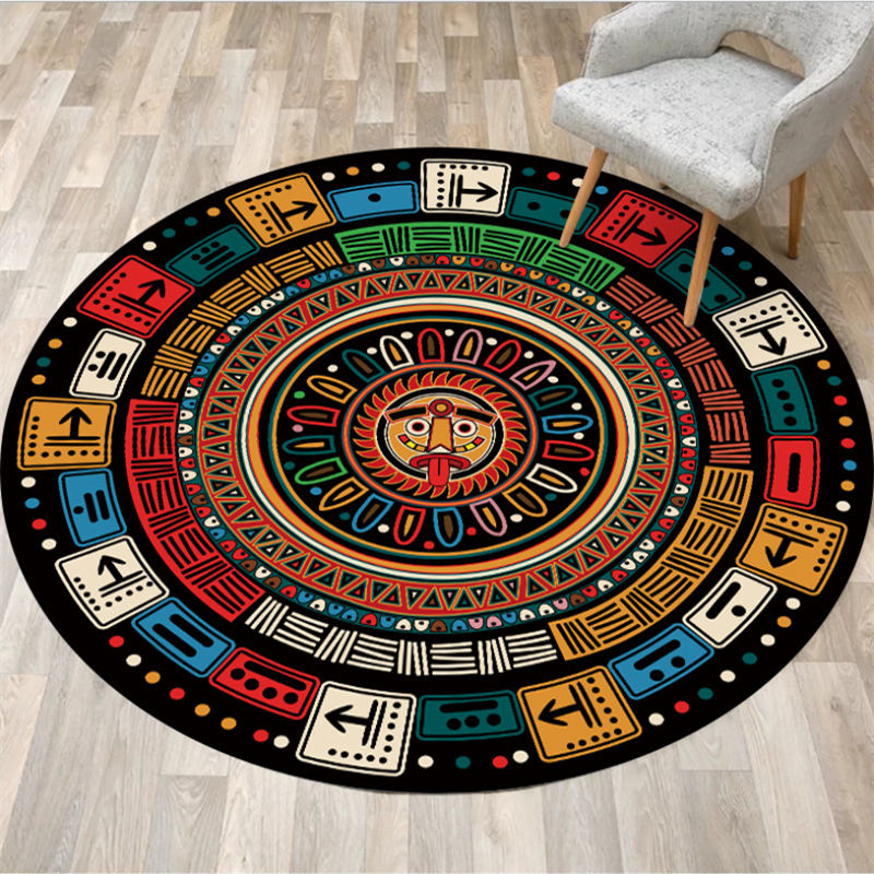 Carpets For Living Room Color Mayan Ethnic Style Pattern Round Carpet Rugs For Children Rooms Bedroom Carpet 100% Polyester
