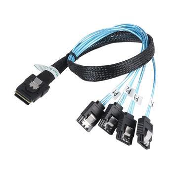 цена на sas sata cable Mini-SAS SFF-8087 to 4 SATA Cable Mini SAS 4i SFF8087 36P To 4 SATA 7P Cable 12Gbps 50cm Hard Drive Data