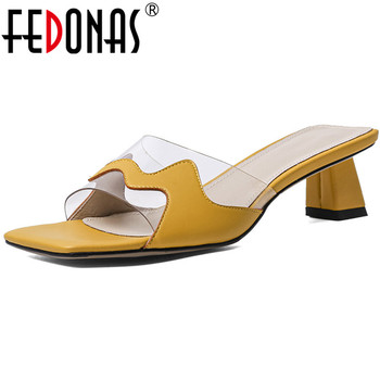 FEDONAS Genuine Leather Female Slippers Classic Peep Toe High Heels Sandals For Women Summer Fashion Wedding Party Shoes Woman