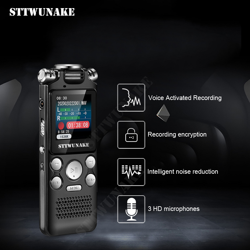 Voice Recorder Recording Activated Dictaphone Audio Sound Digital Professional USB PCM 1536Kbps