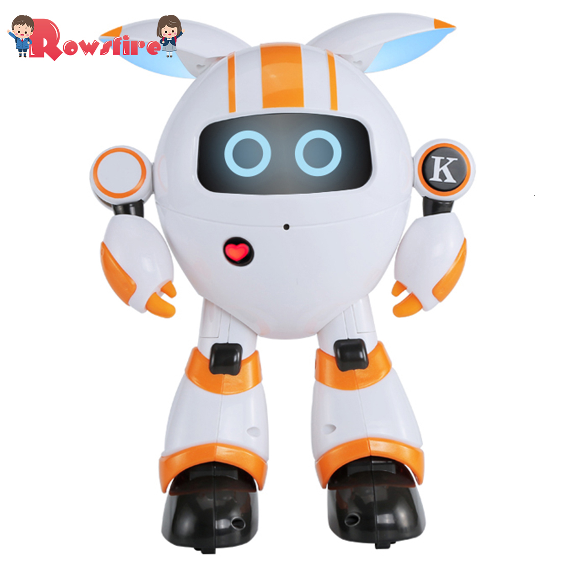 Rowsfire Smart Walking Robot RC Electronic Dancing Singing Robot Toy For Children - Orange/Blue