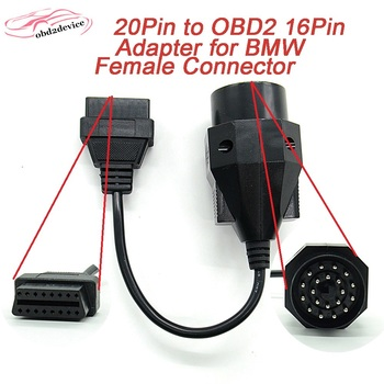 for BMW 20pin OBD2 Adapter 20 pin to OBD2 extend 16 PIN Female cable for e36 e39 X5 car obd2 cables factory outlet image